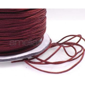 CORDON MACRAME 0,7MM BURDEOS -130 M NYLON TRENZADO SATINADO