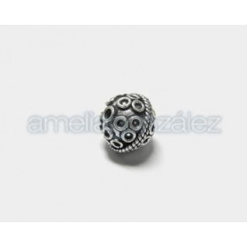 BOLA FILIGRANA METAL BALI 15MM PLATA VIEJA