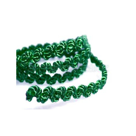 CORDON GALON ONDAS 5MM VERDE -25 METROS
