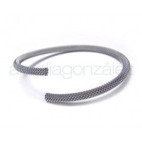 PULSERA AJUSTABLE ACERO REDONDO MALLA (ED 3,8MM) NATURAL 18C