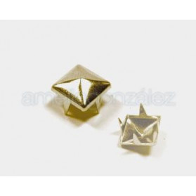 TACHUELAS METAL PIRAMIDE 12MM -100 UN DORADO BRILLANTE
