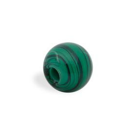 GLASS WAVED STRIPES 14MM (4MM HOLE) MALACHITE