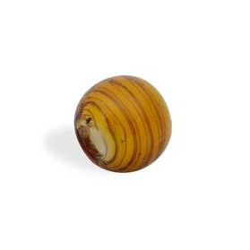 GLASS WAVED STRIPES 14MM (4MM HOLE) TIGER EYE