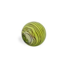 GLASS WAVED STRIPES 14MM (4MM HOLE) PERIDOT