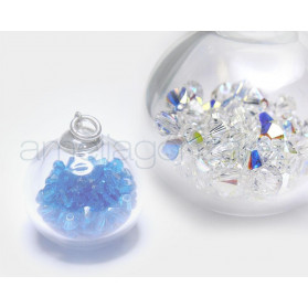 BUBBLES BOLA 16MM PLATA TUPPI CRYSTAL AB SWAROVSKI ELEMENTS