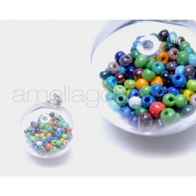 BUBBLES BOLA 20MM PLATA CRISTAL CHECO MIX