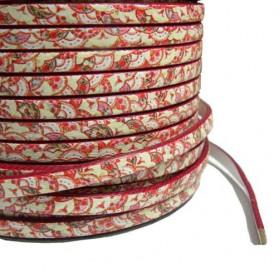 PRINTED FLAT LEATHER 5X2MM ORIENTAL RED
