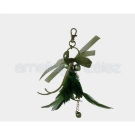 FANCY JEWELRY FEATHER PENDANT 005 GREEN