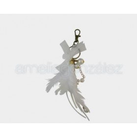 FANCY JEWELRY FEATHER PENDANT 007 WHITE