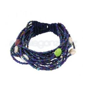 Pulsera rocalla y piezas ovaladas colores