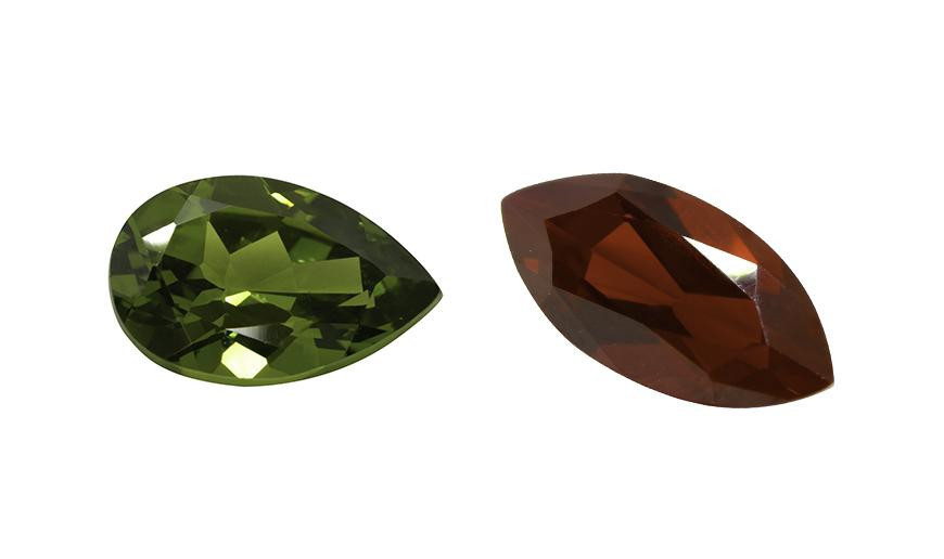 PEARSHAPE AND MARQUISE CUT FACETED