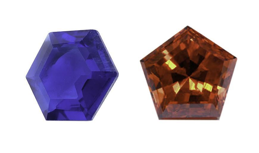 Pentágono y Hexagono sintétido facetados