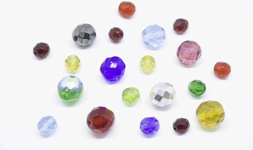 Czech fire polished glass round beads